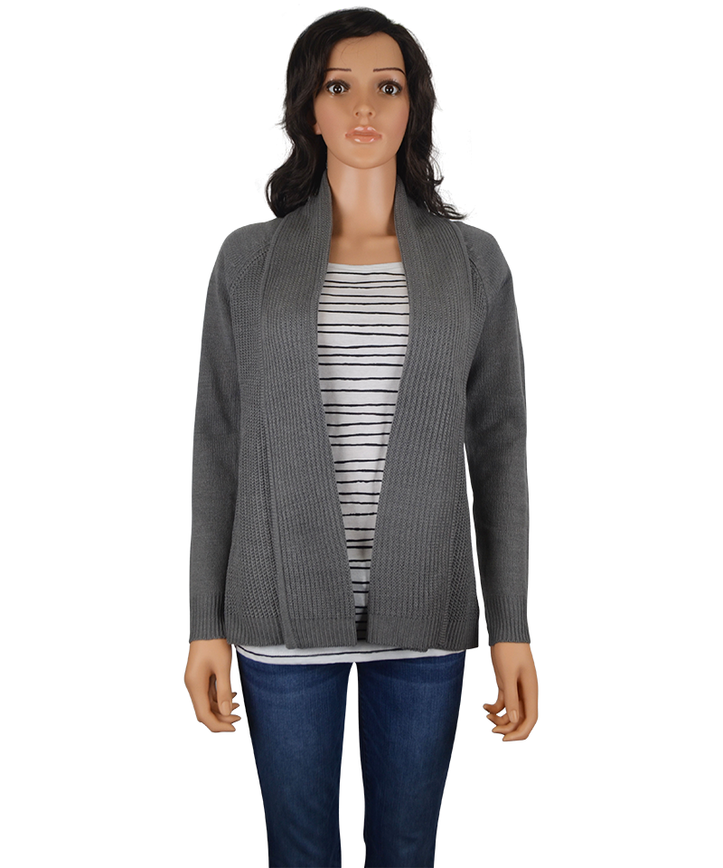 This lovely knit cardigan sweater features an open front cascade design with a stunning abstract black pattern atop a cream background. Can be dressed up or down with leggings, jeans or pants. Approx. 33